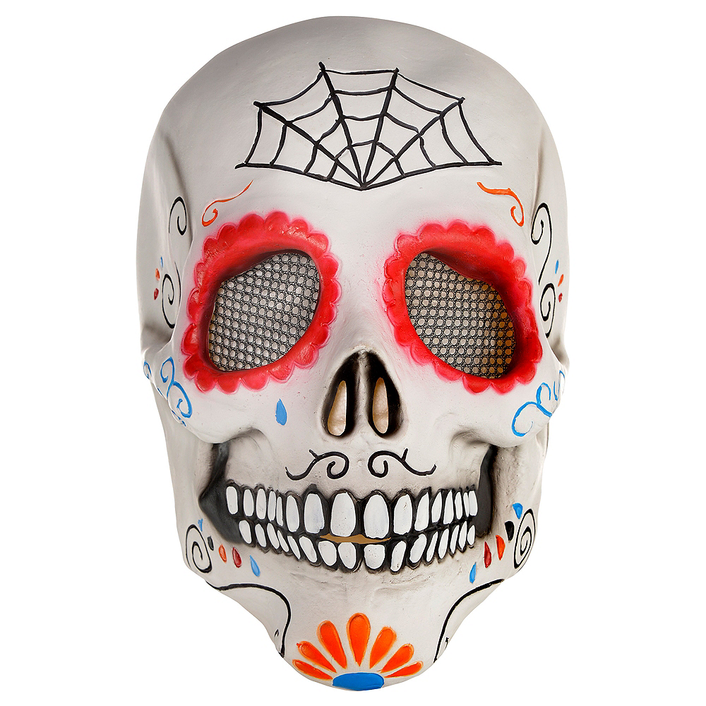 Adult Day of the Dead Sugar Skull Mask Image #1