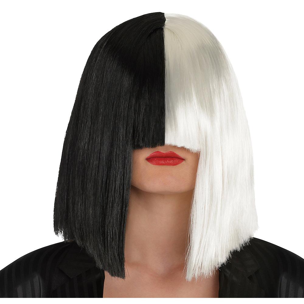Adult Secret Singer Black & White Wig Image #1