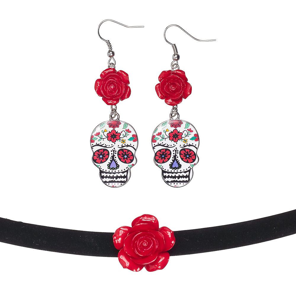 Day of the Dead Earrings with Choker Image #1