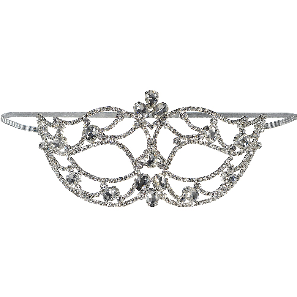 Adult Silver Jewel Masquerade Mask Image #1