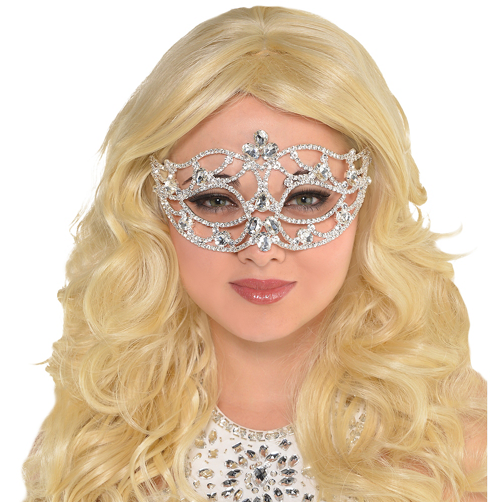 Adult Silver Jewel Masquerade Mask Image #2