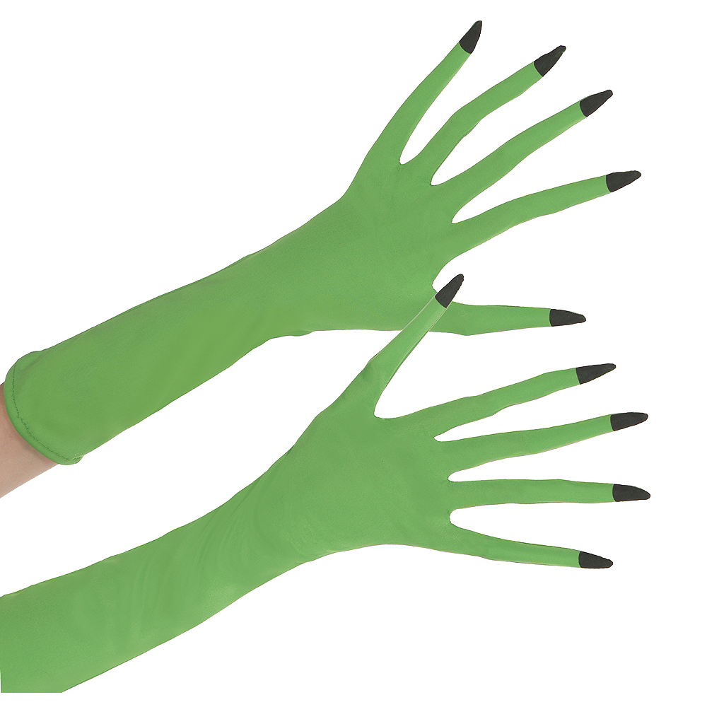 Adult Green Witch Gloves Image #1