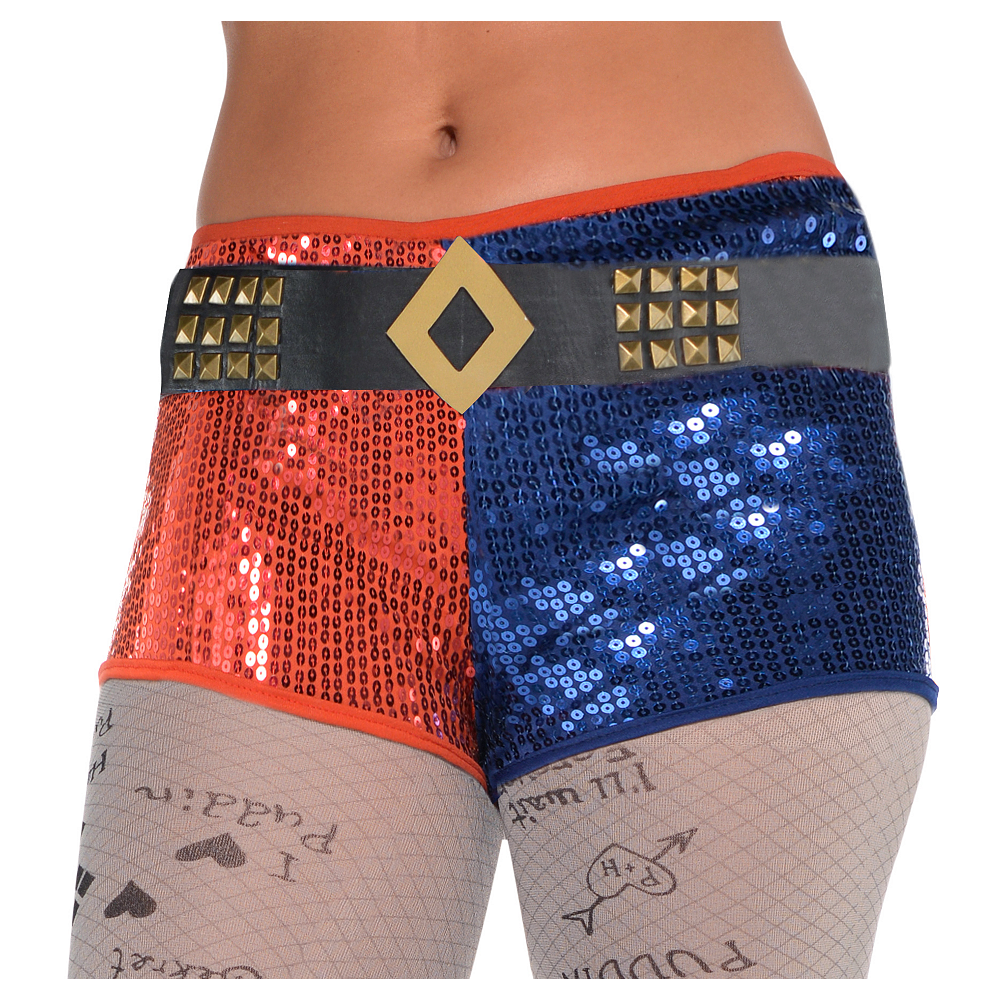Adult Harley Quinn Shorts with Belt - Suicide Squad Image #1