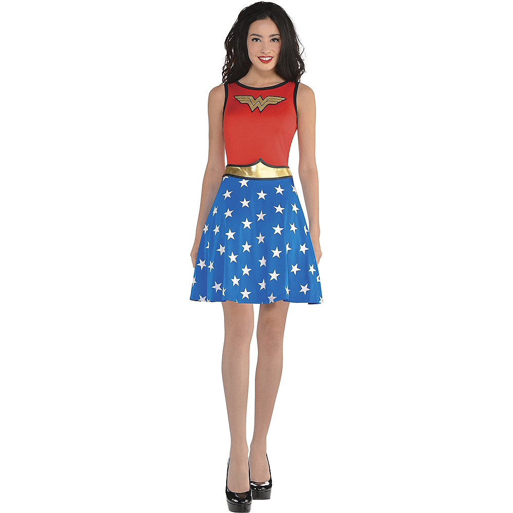 Adult Wonder Woman Fit & Flare Dress Image #1