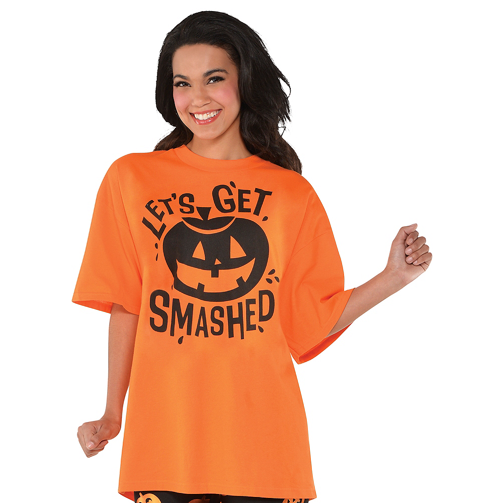 Nav Item for Adult Let's Get Smashed Jack-o'-Lantern T-Shirt Image #1