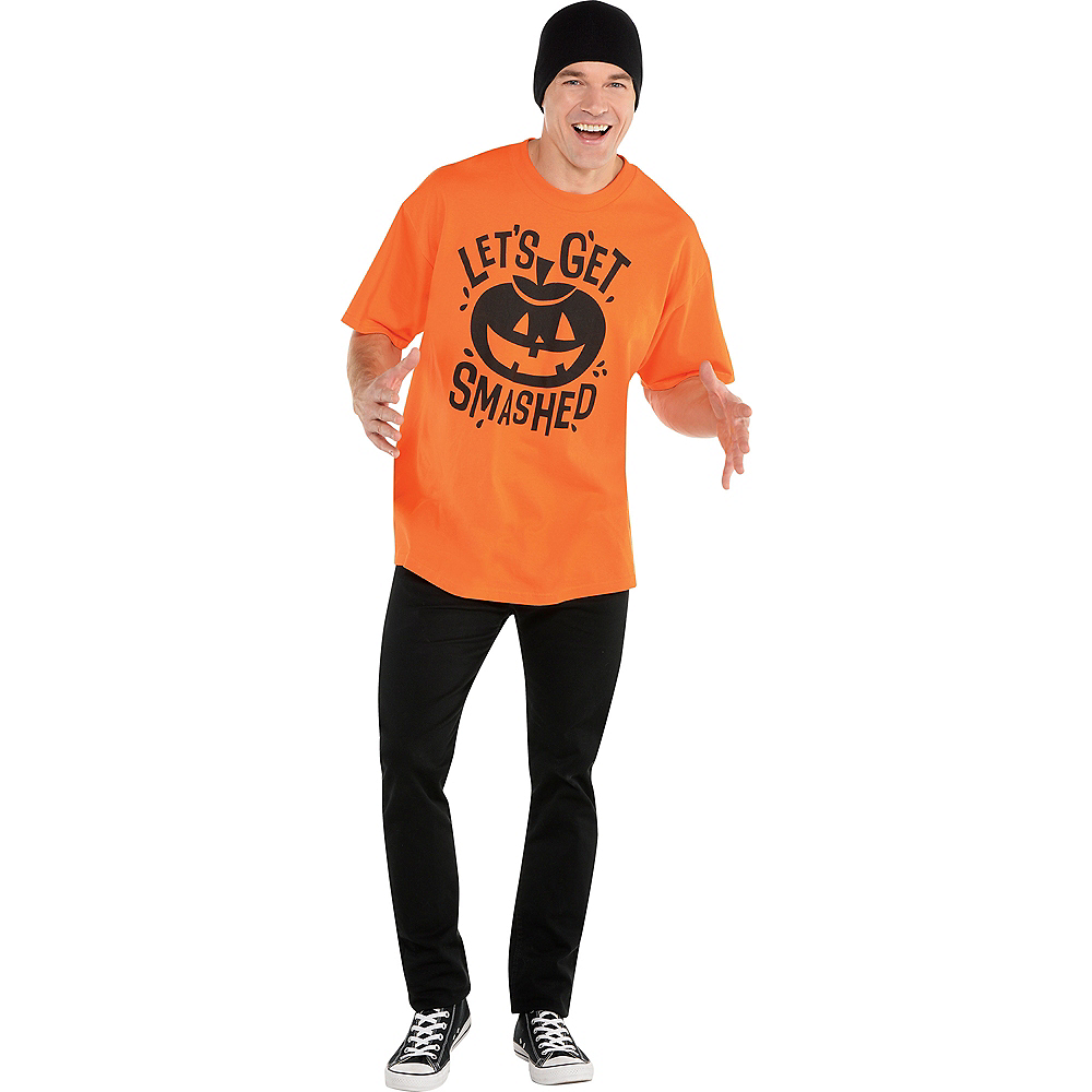 Nav Item for Adult Let's Get Smashed Jack-o'-Lantern T-Shirt Image #2
