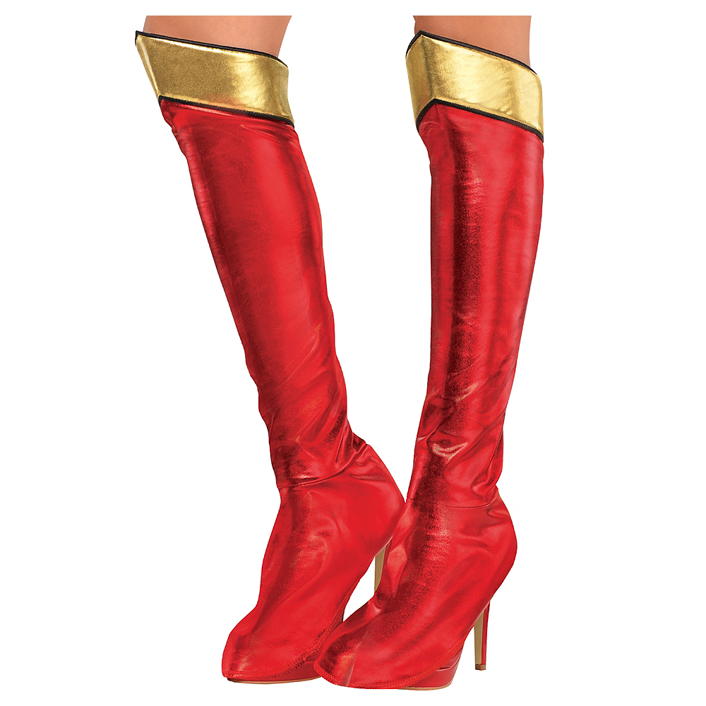 Adult Superhero Black Adult Boot Tops Shoe Covers Halloween Costume Accessory
