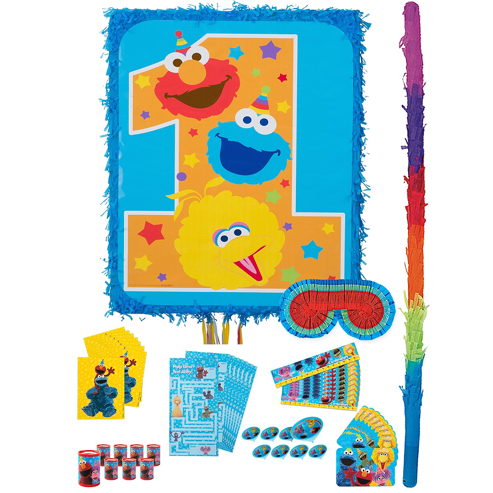 1st Birthday Sesame Street Pinata Kit with Favors Image #1