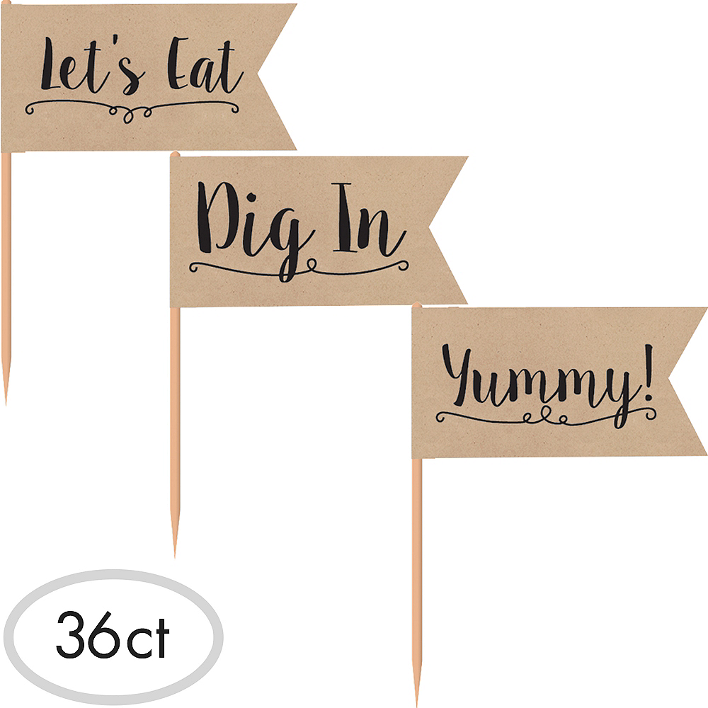 Kraft Paper Party Picks 36ct Image #1