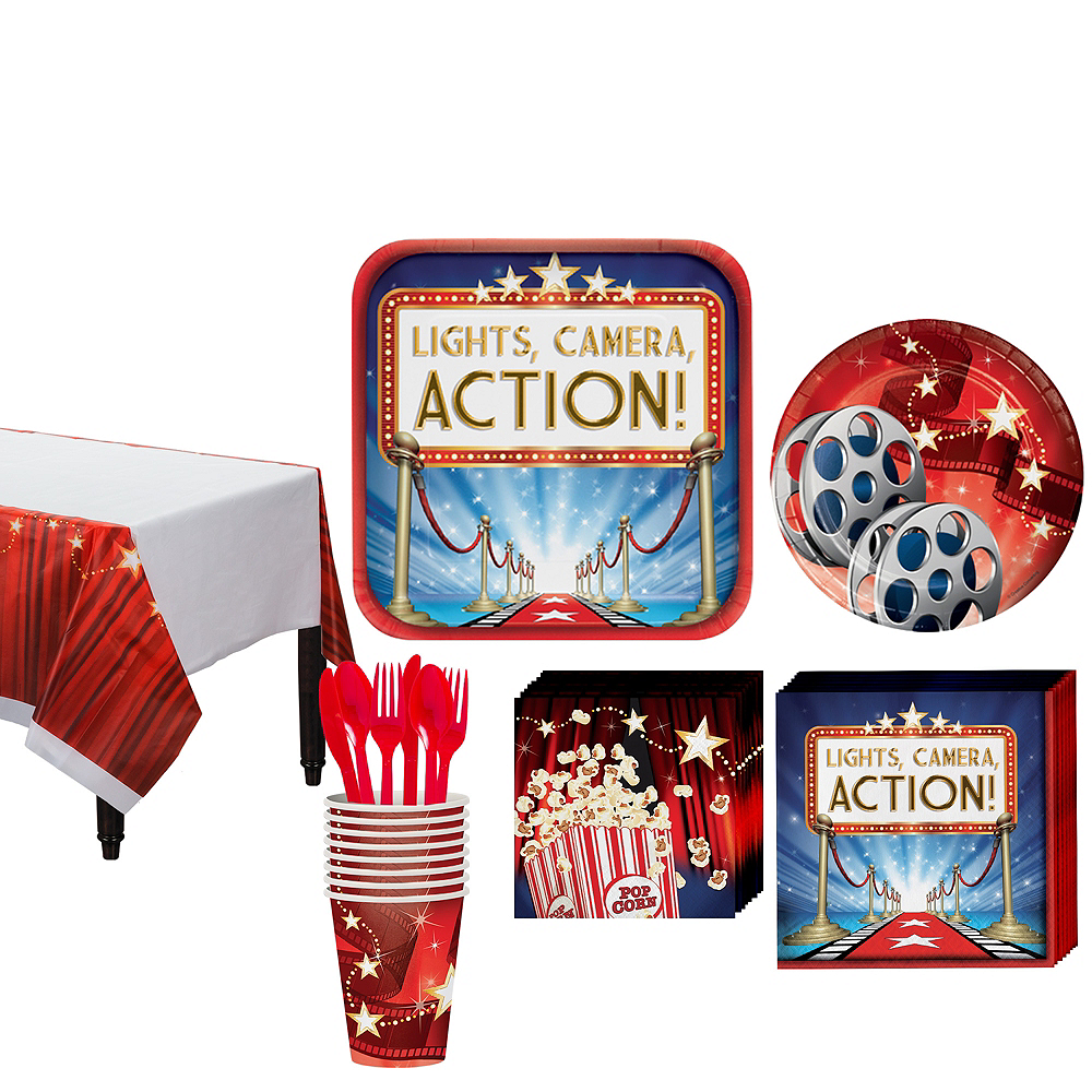 Hollywood Movie Night Tableware Kit for 16 Guests Image #1