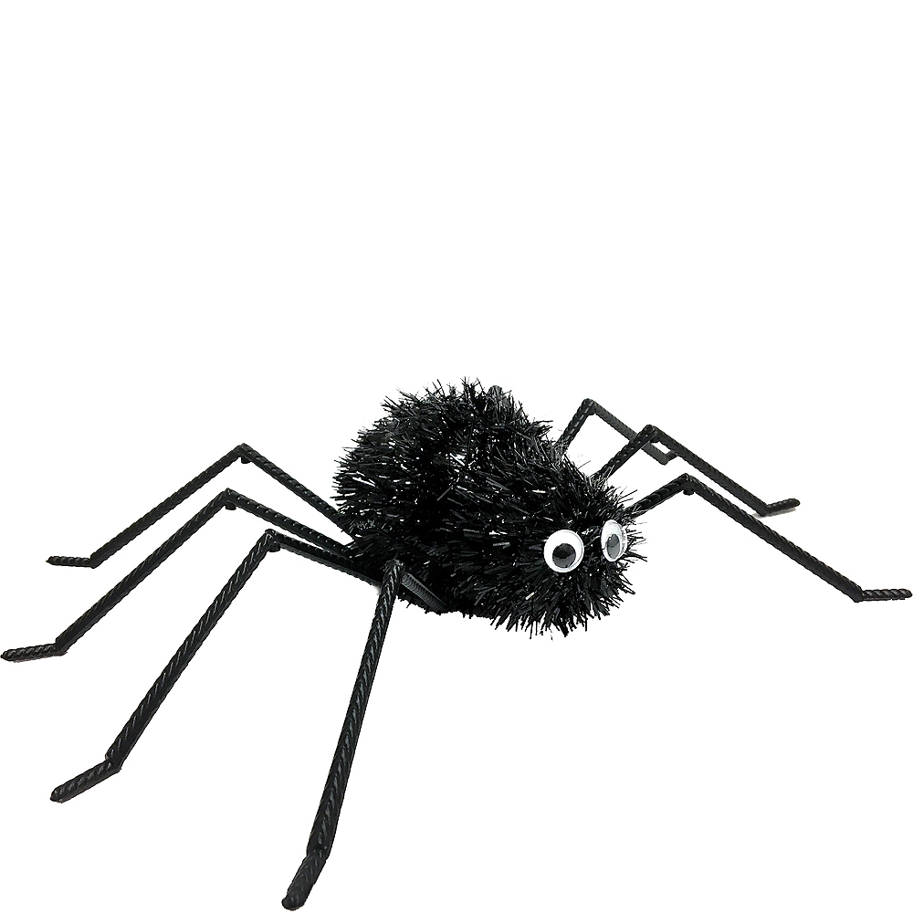 Tinsel Black Spider Decoration Image #1