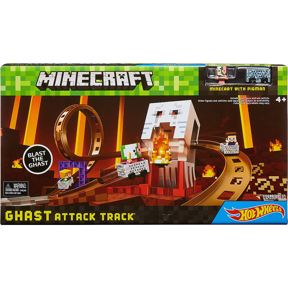 Minecraft Ghast Attack Track Hot Wheels Playset 3pc Party City Assembling Building Block Toy Image 2