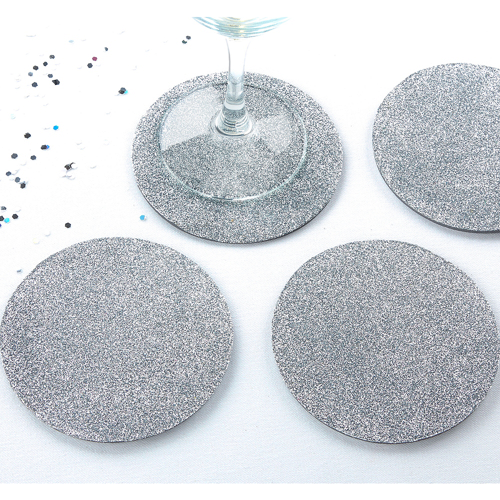 Nav Item for Glitter Silver Coasters Image #1