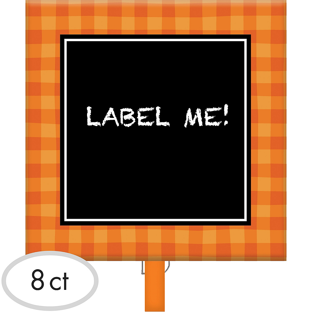 Orange Plaid Chalkboard Label Clips 8ct Image #1