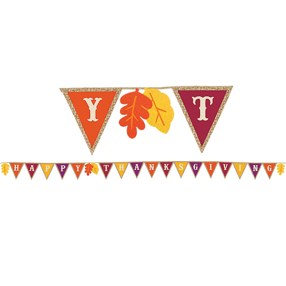 Happy Thanksgiving Burlap Pennant Banner Image #1