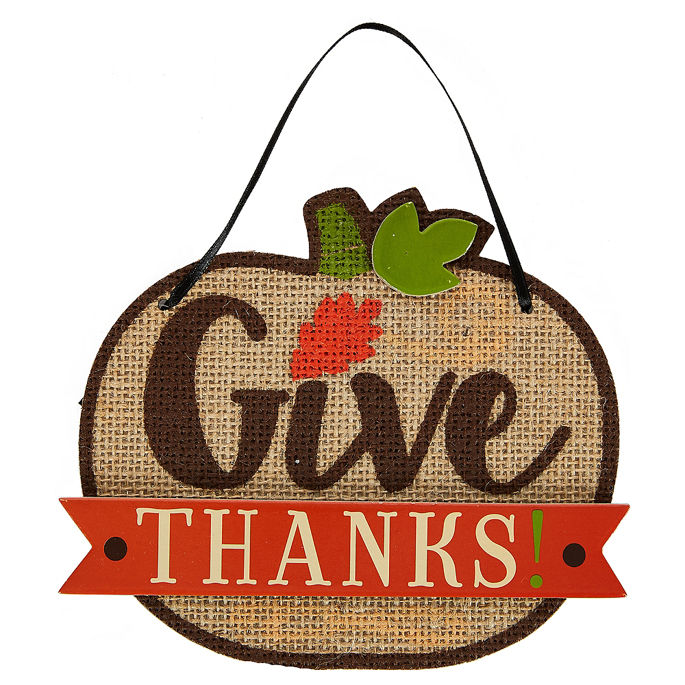 Mini Burlap Give Thanks Sign Image #1