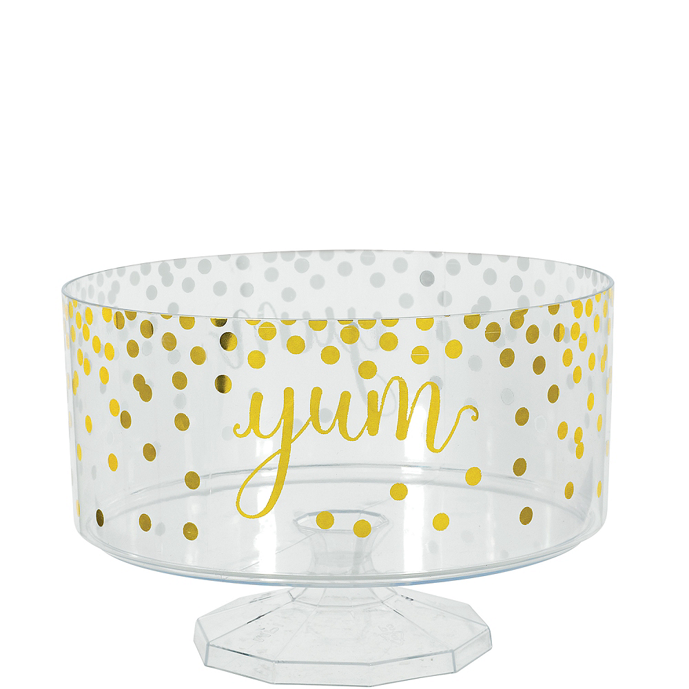 Large Metallic Gold Polka Dots Plastic Trifle Container Image #1