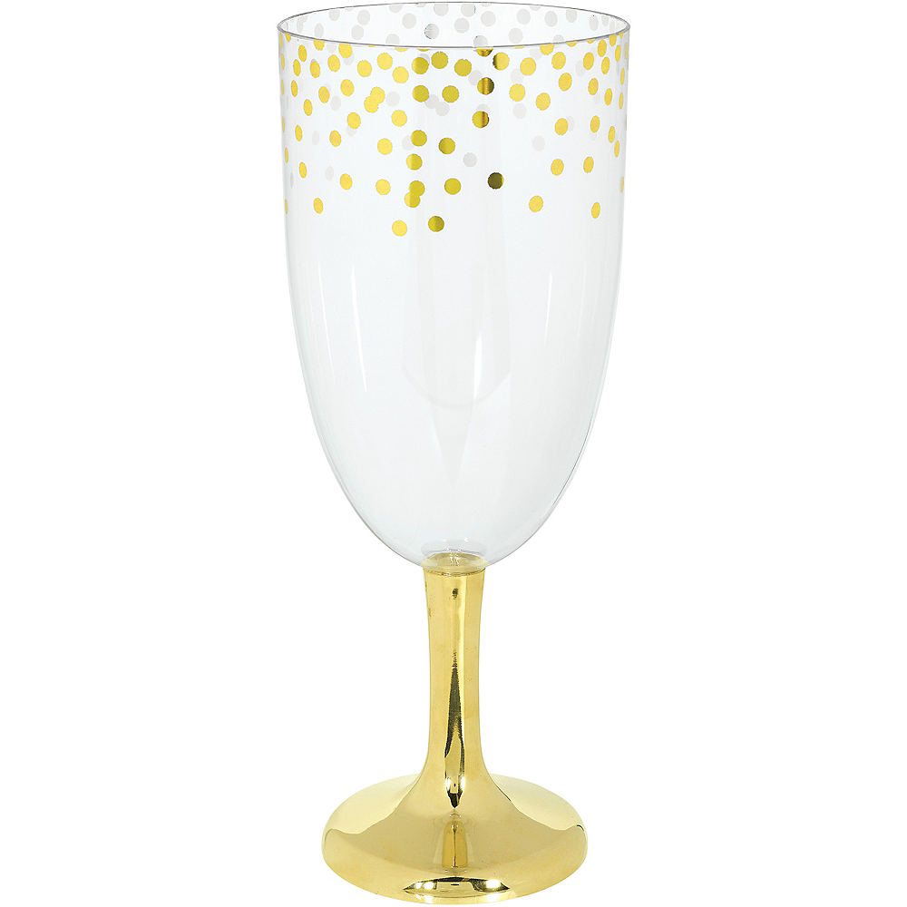 Giant Metallic Gold Polka Dots Plastic Wine Glass 56oz