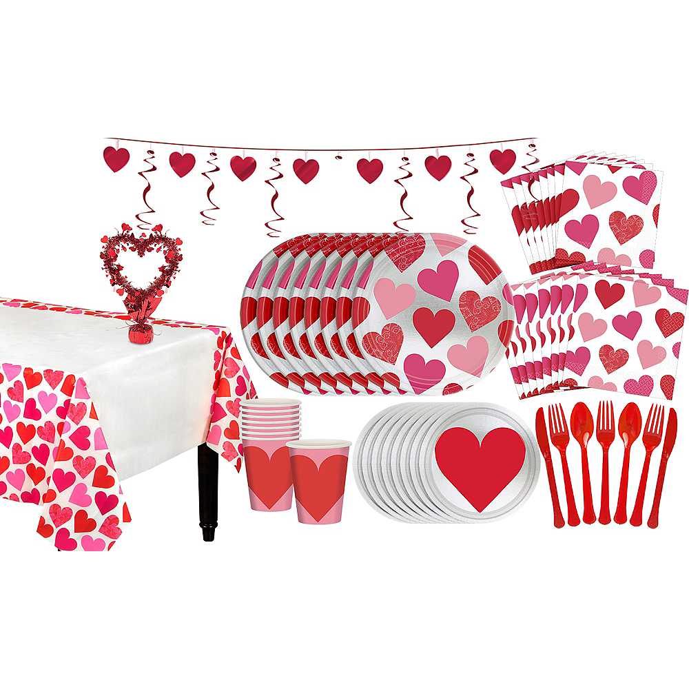 Key to Your Heart Valentine's Day Tableware Kit for 16 Guests Image #1