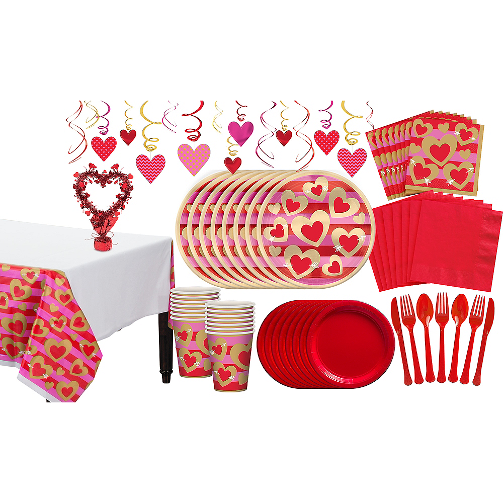 Heart of Gold Valentine's Day Tableware Kit for 16 Guests Image #1