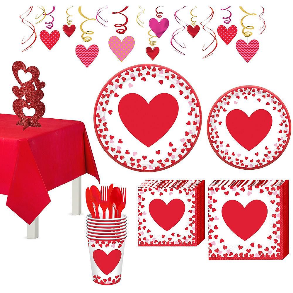 Confetti Hearts Valentine's Day Tableware Kit for 8 Guests Image #1