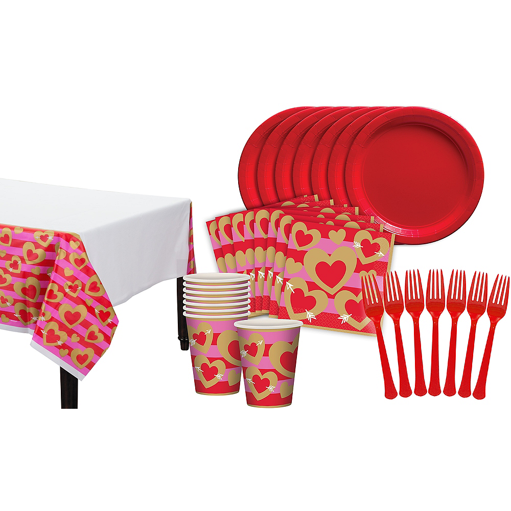 Heart of Gold Valentine's Day Classroom Tableware Kit for 32 Guests Image #1