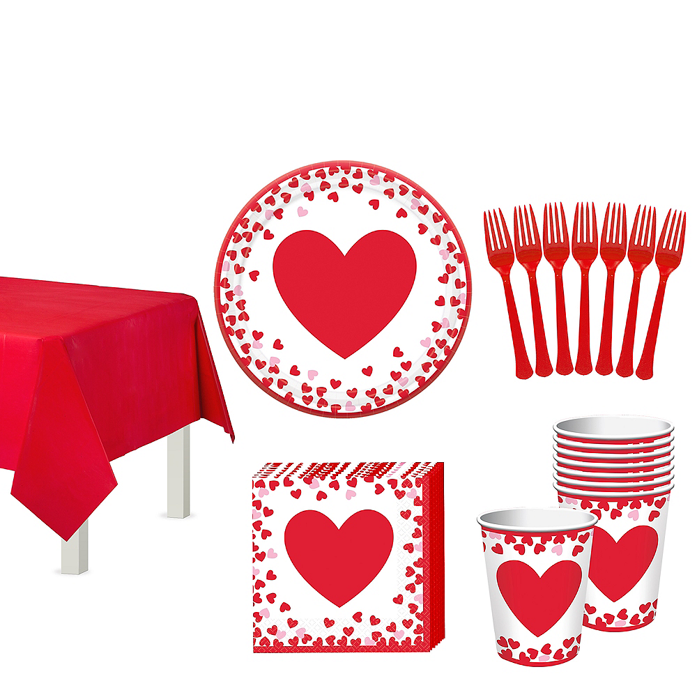 Confetti Hearts Valentine's Day Classroom Tableware Kit for 32 Guests Image #1