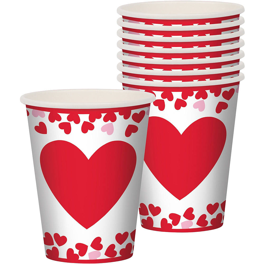Confetti Hearts Valentine's Day Classroom Tableware Kit for 32 Guests Image #4