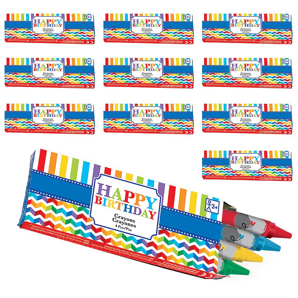 Rainbow Chevron Birthday Crayon Boxes 48ct Image #1
