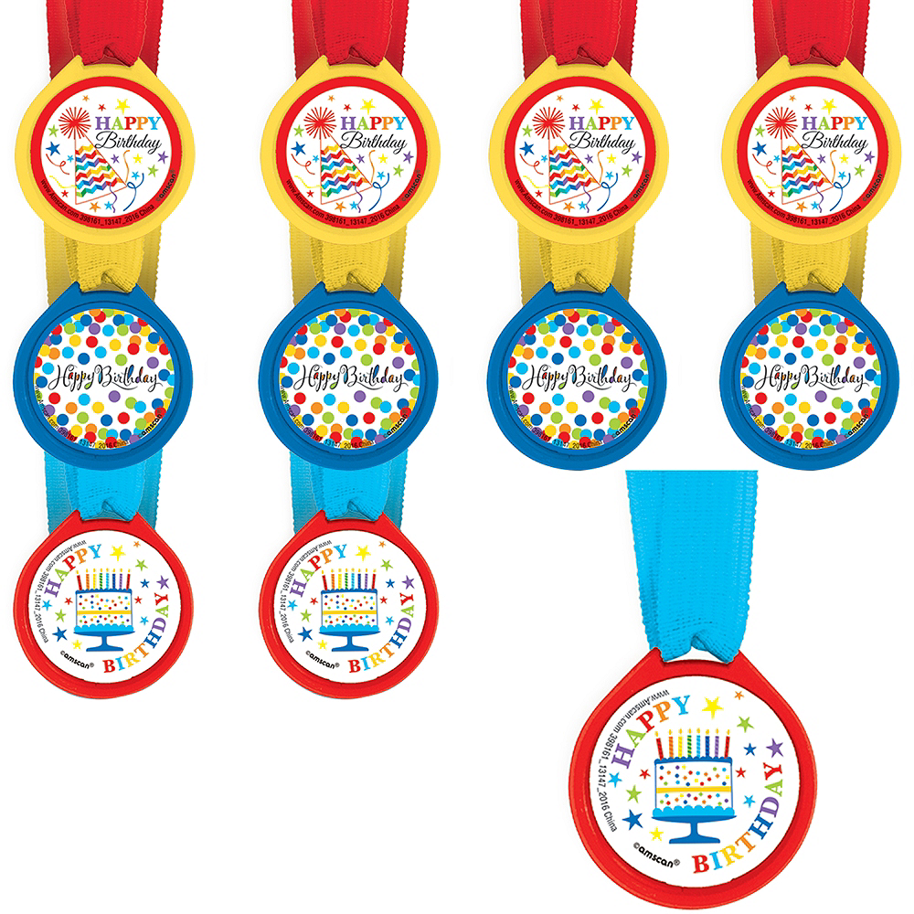 Rainbow Chevron Birthday Award Medals 24ct Image #1