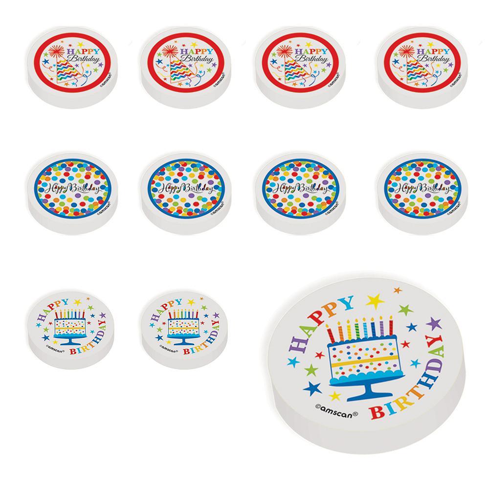 Rainbow Chevron Birthday Erasers 48ct Image #1