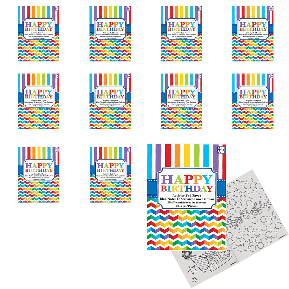 Rainbow Chevron Birthday Coloring & Activity Books 48ct Image #1