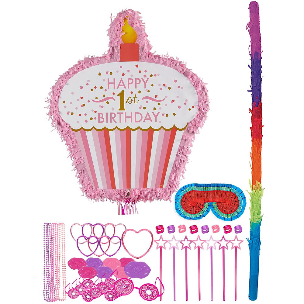 Pink Cupcake 1st Birthday Pinata Kit with Favors Image #1