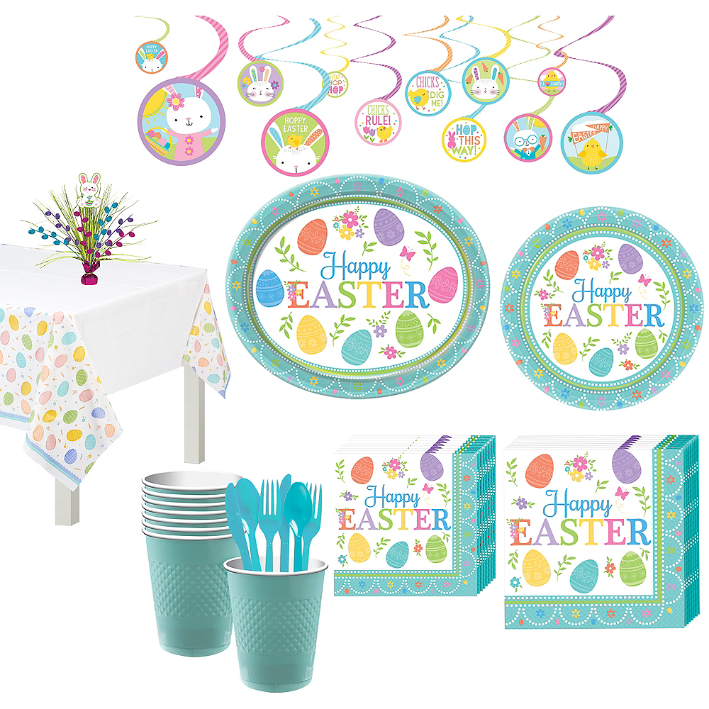 Nav Item for Egg-citing Easter Tableware Kit for 8 Guests Image #1