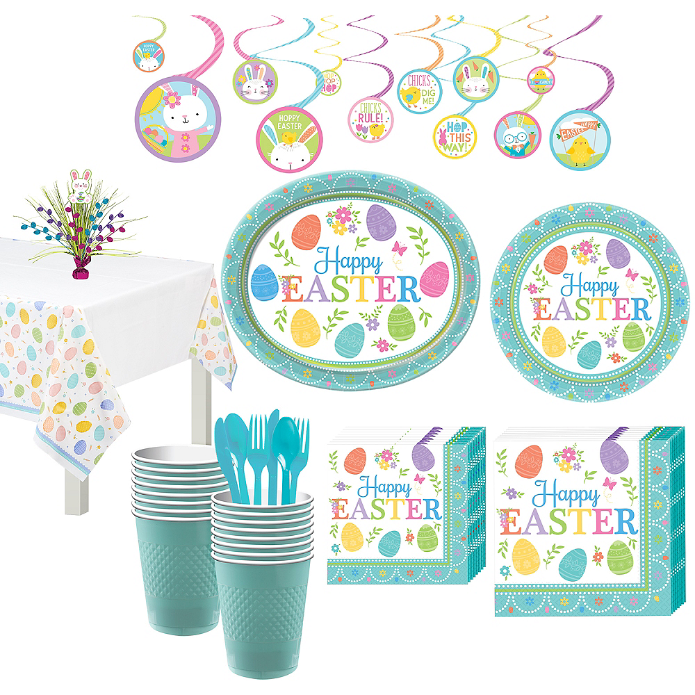 Egg-citing Easter Tableware Kit for 16 Guests Image #1