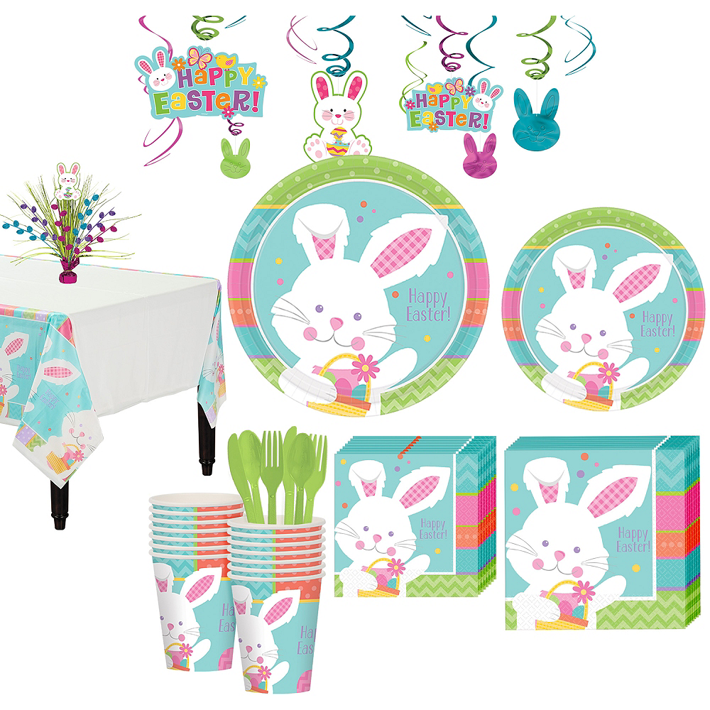 Hippity Hop Easter Bunny Tableware Kit for 16 Guests Image #1