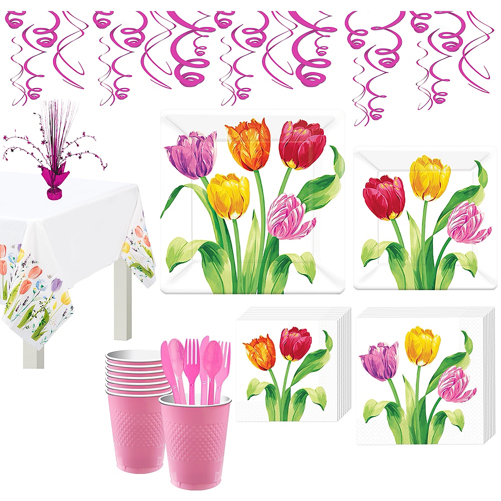 Spring Tulips Tableware Kit for 8 Guests Image #1