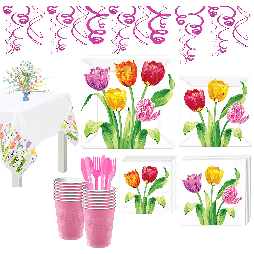 Spring Tulips Tableware Kit for 16 Guests Image #1