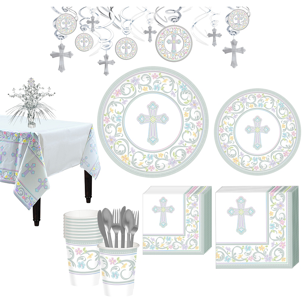 Blessed Day Religious Tableware Kit for 18 Guests Image #1