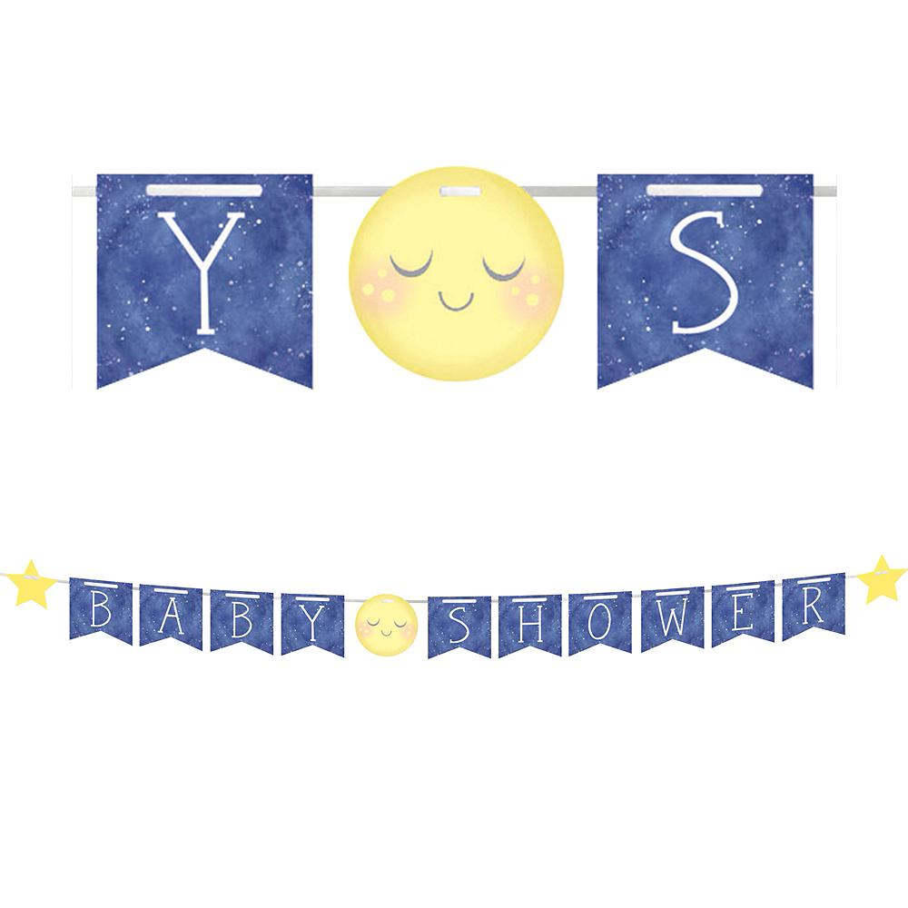 Nav Item for Moon & Stars Baby Shower Pennant Banner Image #1