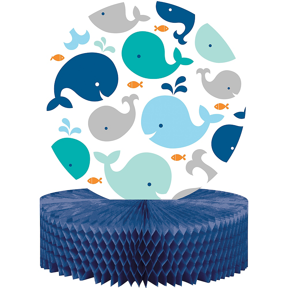Blue Baby Whale Honeycomb Centerpiece Image #1