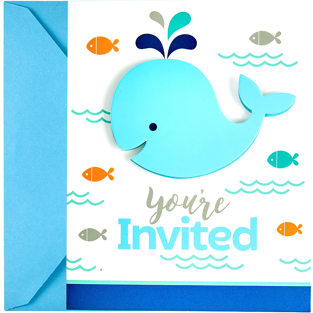 Blue Baby Whale Invitations 8ct Image #1