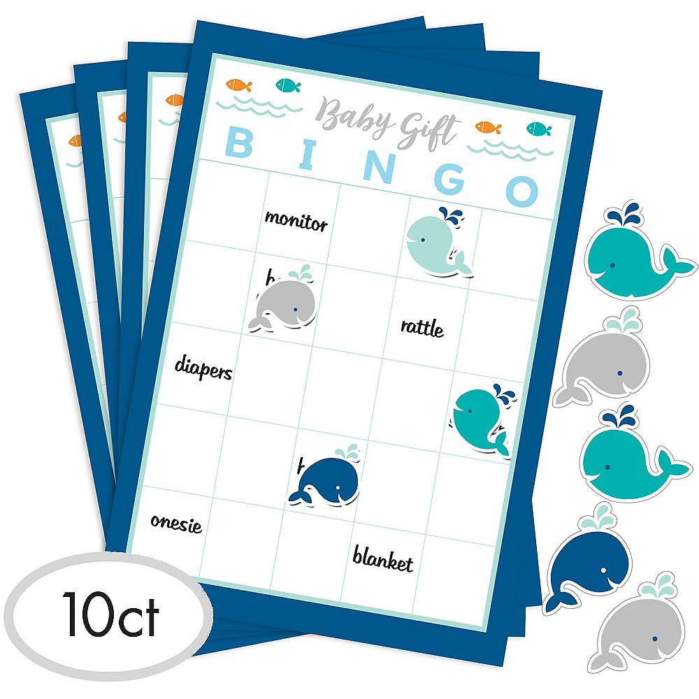 Blue Baby Whale Baby Shower Bingo Game Image #1
