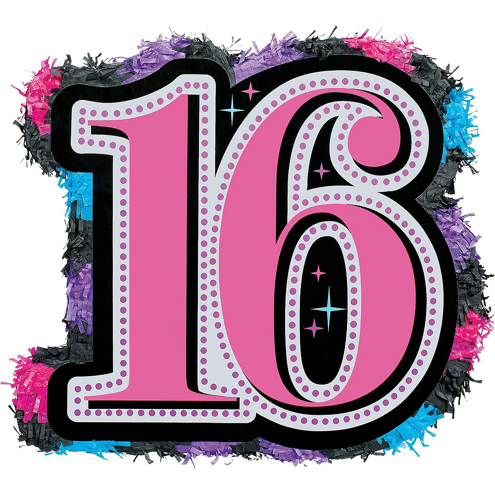 Celebrate Sweet 16 Pinata Kit with Favors 17 1/2in x 17 1/2in ...