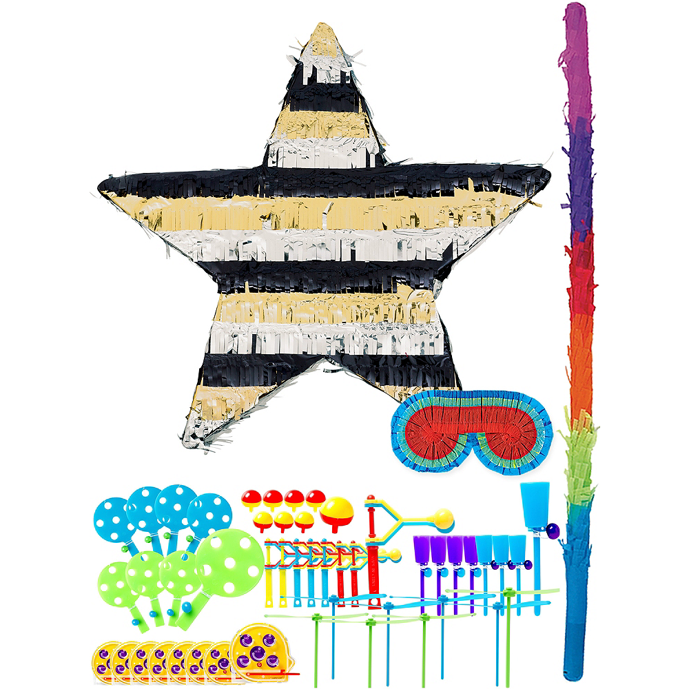 Foil Black, Gold & Silver Star Pinata Kit with Favors Image #1