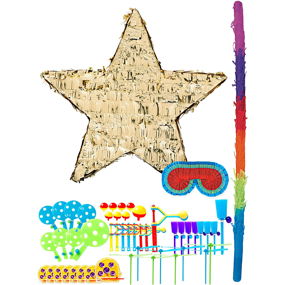Foil Gold Star Pinata Kit with Favors Image #1