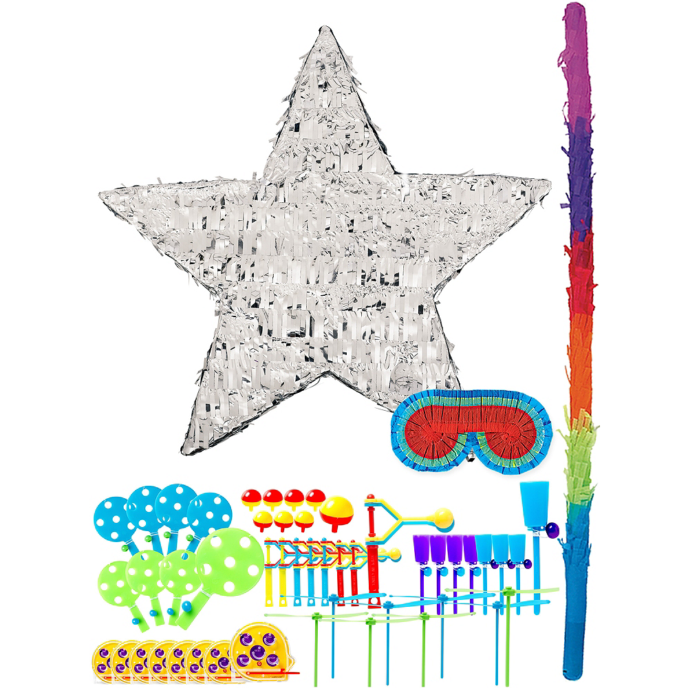 Foil Silver Star Pinata Kit with Favors Image #1