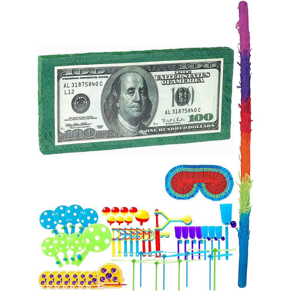 One Hundred Dollar Bill Pinata Kit with Favors Image #1