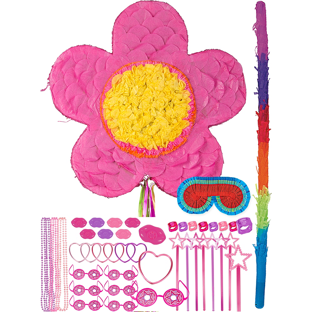 Pink Flower Pinata Kit with Favors Image #1