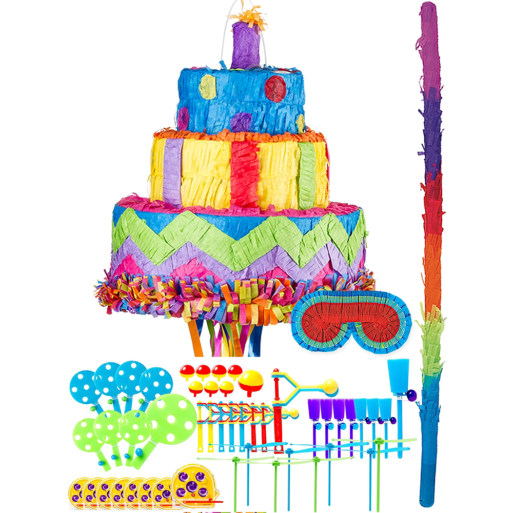 Cool Pull String Birthday Cake Pinata Kit With Favors 11In X 12In Funny Birthday Cards Online Alyptdamsfinfo